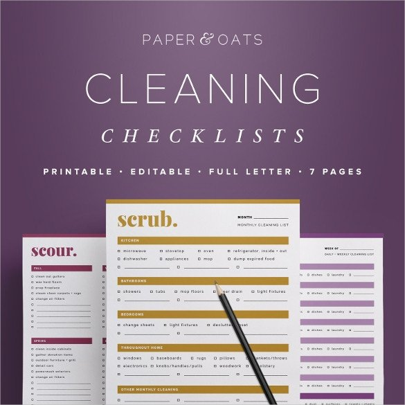Editable Cleaning Schedule Template Cleaning Checklist Template 38 Word Excel Pdf