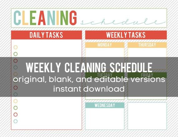 Editable Cleaning Schedule Template Printable Weekly Cleaning Schedule Editable and Instant