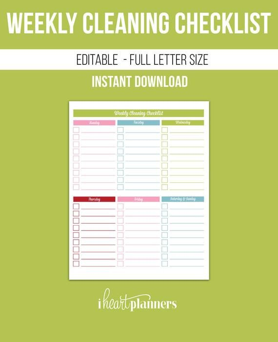 Editable Cleaning Schedule Template Weekly Cleaning Checklist Editable Printable Pdf Instant