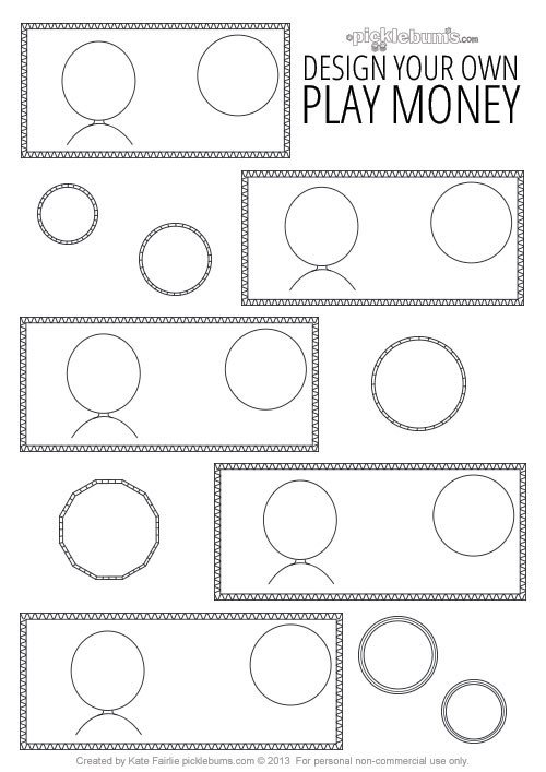 Editable Play Money Template Design Your Own Printable Play Money Picklebums