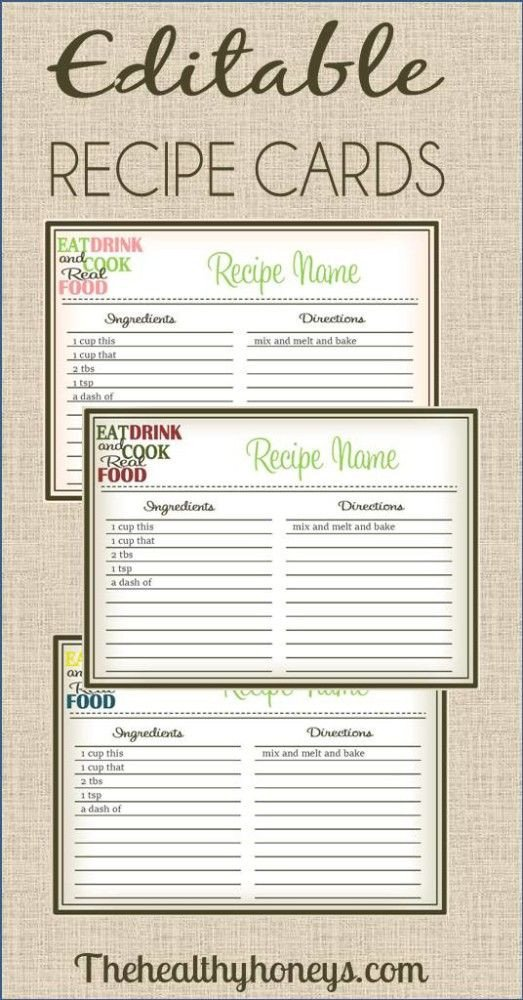 Editable Recipe Card Template 10 Images About Printable Recipe Cards On Pinterest