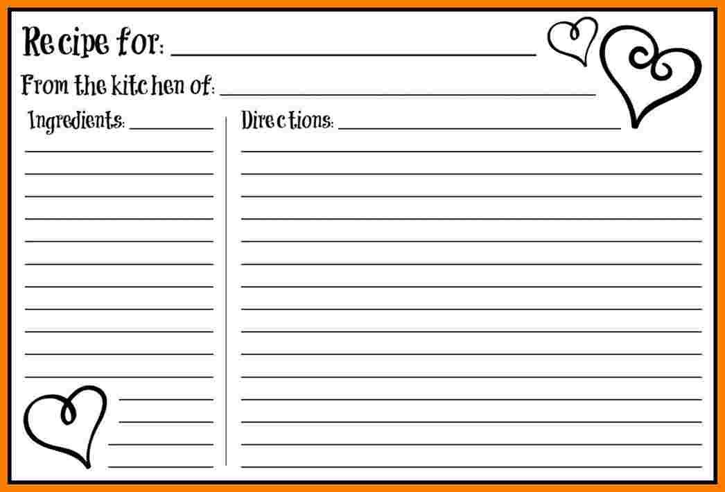 Editable Recipe Card Template 5 Free Editable Recipe Card Templates for Microsoft Word