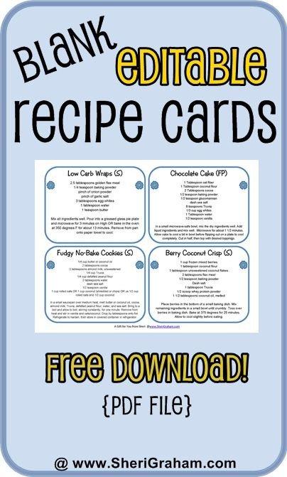 Editable Recipe Card Template Blank Editable Recipe Cards 1 2 & 4 Card Versions Free