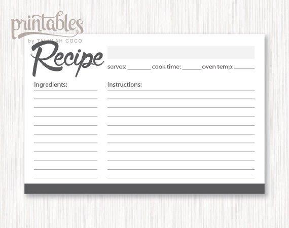Editable Recipe Card Template Digital Recipe Cards Editable Charcoal Gray Recipe Card