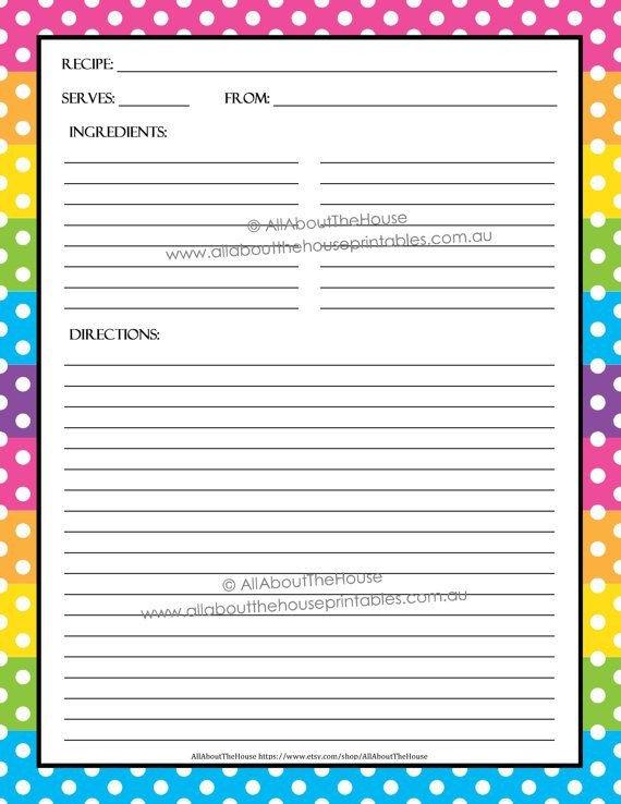Editable Recipe Card Template Editable Printable Recipe Card Template Pdf Sheet