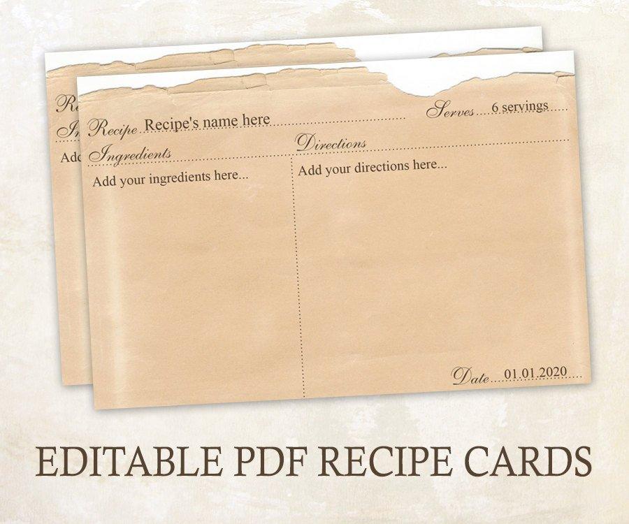 Editable Recipe Card Template Editable Recipe Cards 4x6 Rustic Recipe Cards Editable Pdf