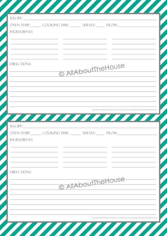 Editable Recipe Card Template Items Similar to Editable Printable Stripe Recipe
