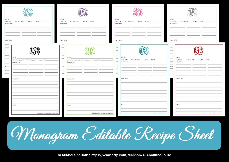 Editable Recipe Card Template Monogram Recipe Sheet Editable Recipe Card Preppy Template