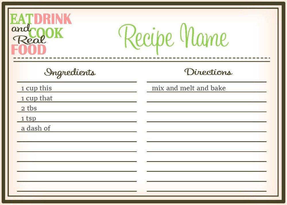 Editable Recipe Card Template Real Food Recipe Cards Diy Editable the Healthy Honeys