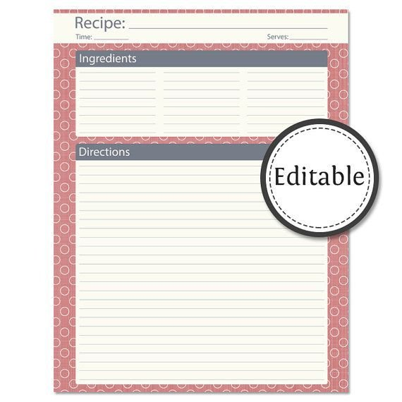 Editable Recipe Card Template Recipe Card Full Page Fillable Instant