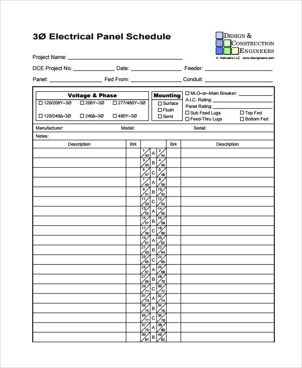 Sample Panel Schedule Template 7 Free Documents