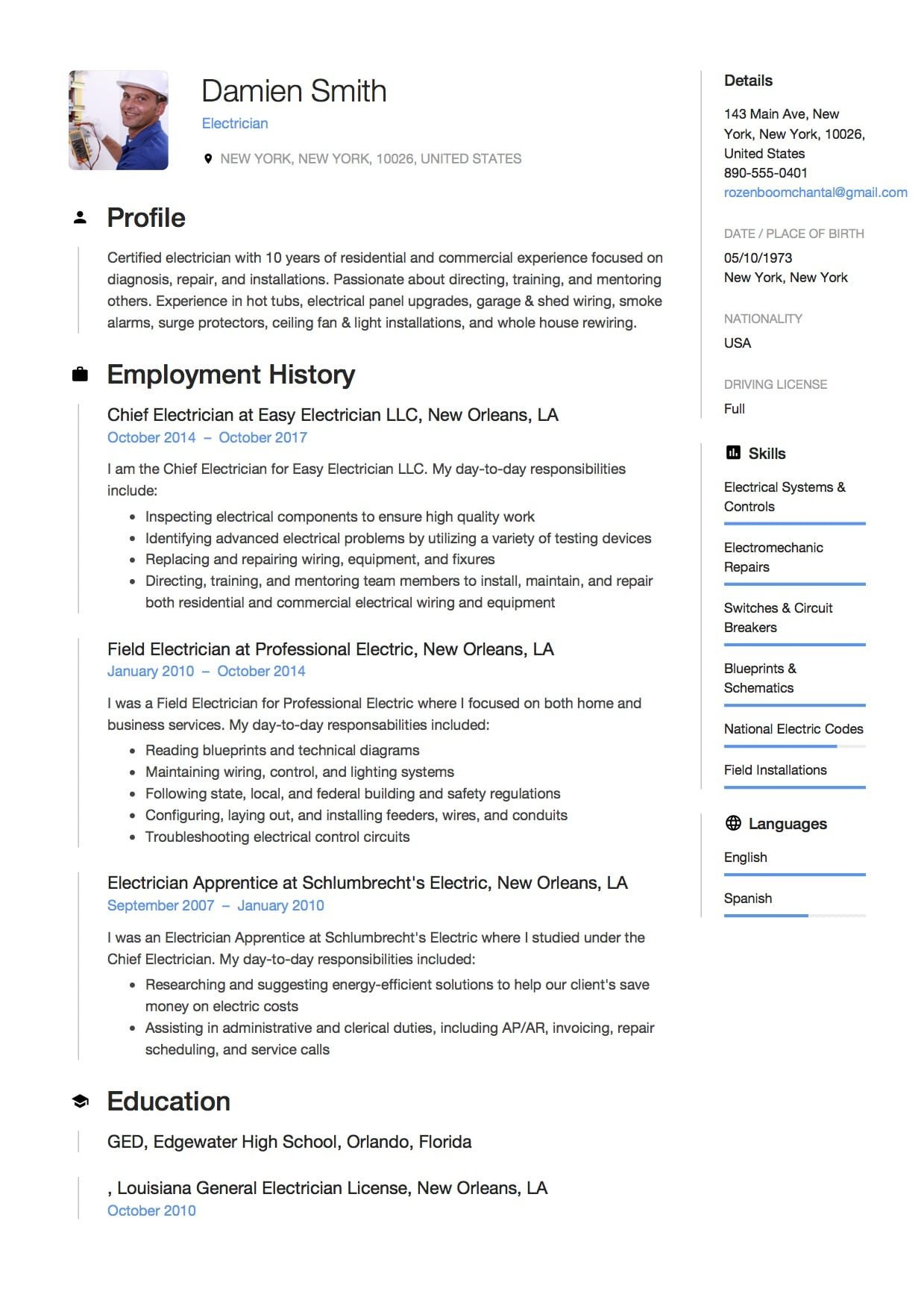 Electrician Resume Template Microsoft Word 12x Free Electrician Resume Template