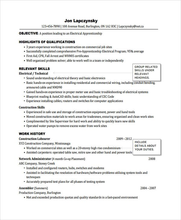 Electrician Resume Template Microsoft Word Sample Electrician Resume Template 7 Free Documents