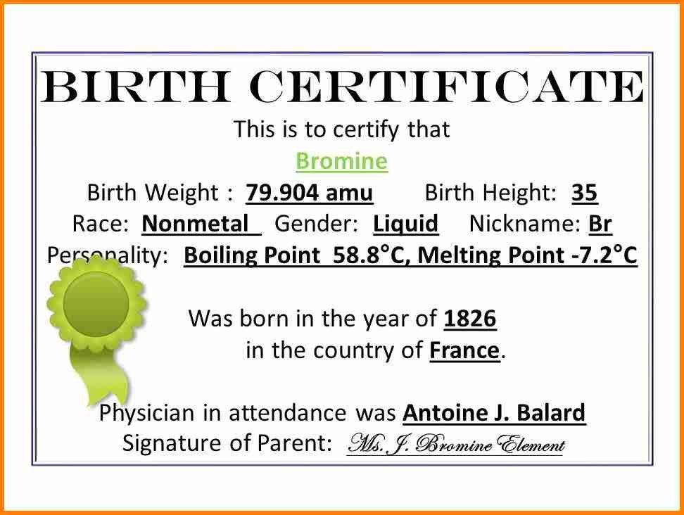 Element Birth Certificate 7 Element Birth Certificate
