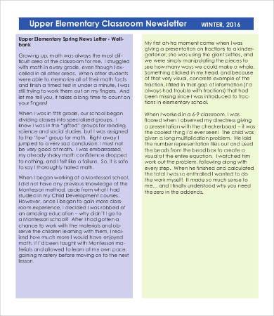 Elementary School Newsletter Template Classroom Newsletter Template 9 Free Word Pdf