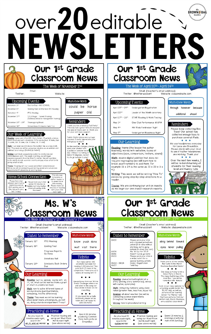 Elementary School Newsletter Template Editable Newsletter Templates Back to School