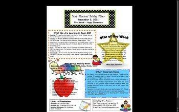 Elementary School Newsletter Template Elementary Classroom Newsletter Template by Stephanie