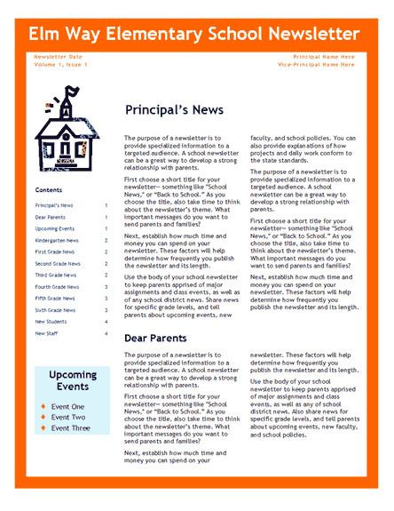 Elementary School Newsletter Template Elementary School Newsletter Fice Templates