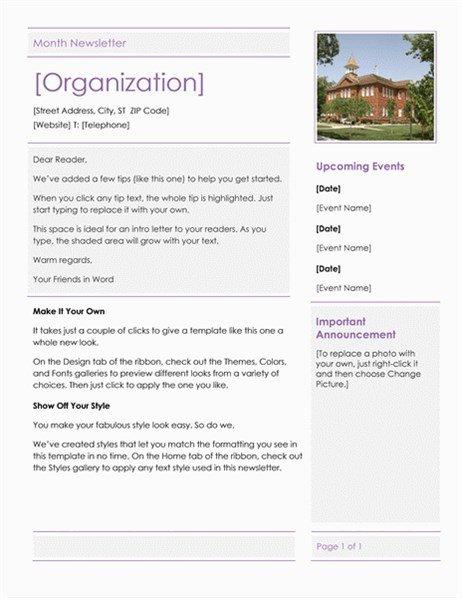 Elementary School Newsletter Template Elementary School Newsletter