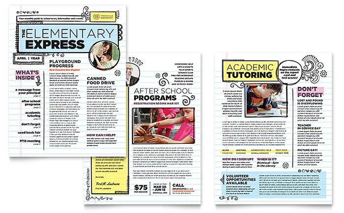 Elementary School Newsletter Template Elementary School Newsletter Template Word & Publisher