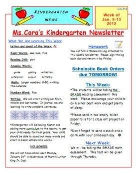 Elementary School Newsletter Template Elementary Weekly Newsletter Template