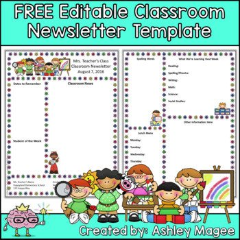 Elementary School Newsletter Template Free Editable Teacher Newsletter Template by Mrs Magee