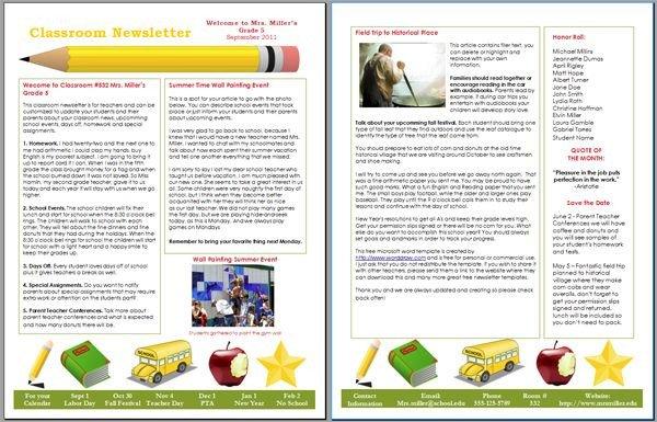 Elementary School Newsletter Template Free Word Newsletter Templates