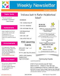 Elementary School Newsletter Template Kepler Neighborhood School [tuition Free Charter