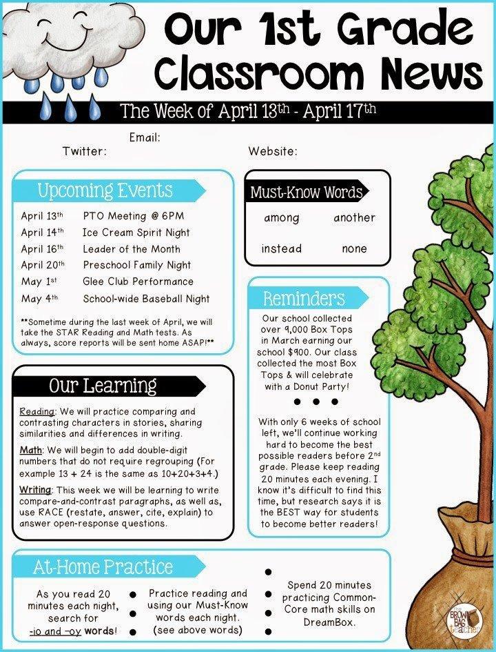 Elementary School Newsletter Template Parent Munication 1st Grade the Brown Bag Teacher