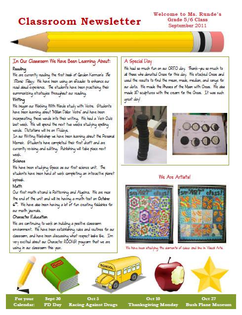 Elementary School Newsletter Template Runde S Room My New Classroom Newsletter
