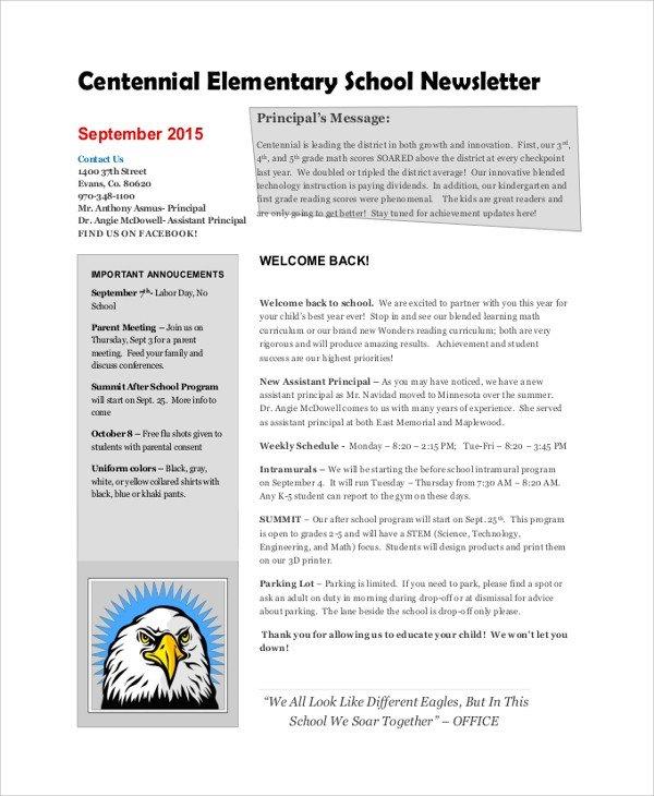 Elementary School Newsletter Template Sample School Newsletter 7 Documents In Pdf Word