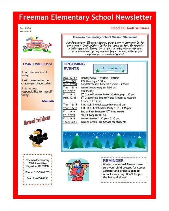 Elementary School Newsletter Template Sample School Newsletter Template 8 Download Documents