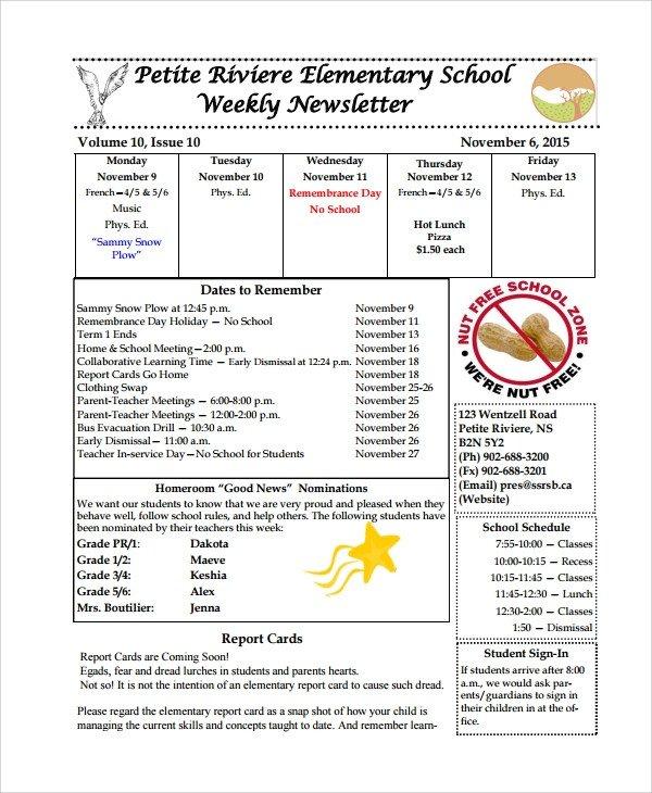 Elementary School Newsletter Template Sample Weekly Newsletter Template 9 Free Documents