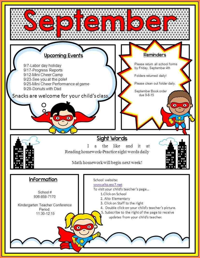 Elementary School Newsletter Template School Newsletter Templates