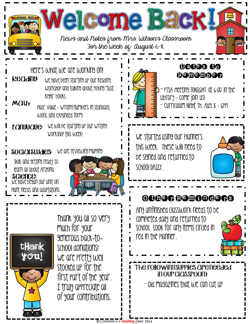 Elementary School Newsletter Template Seasonal Classroom Newsletter Templates for Busy Teachers