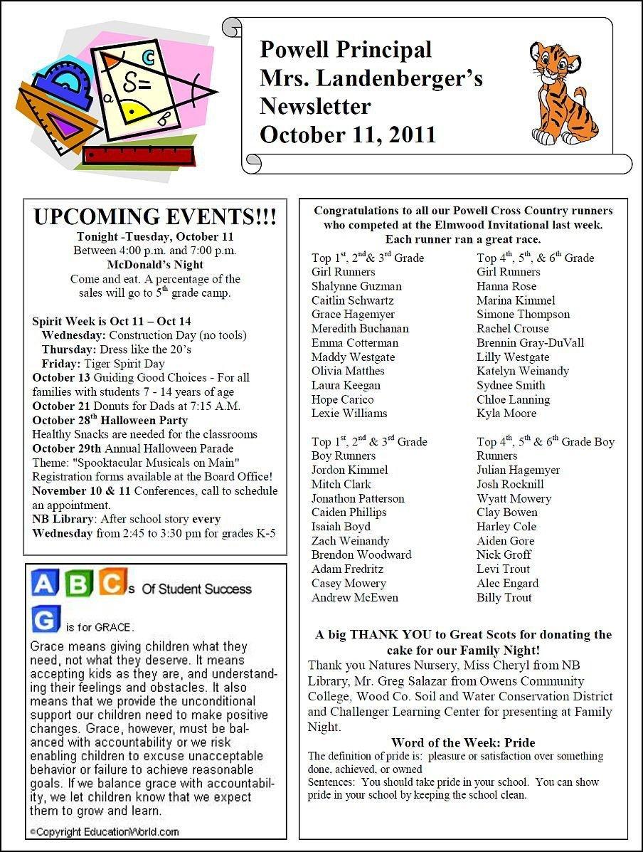 Elementary School Newsletter Template thenbxpress