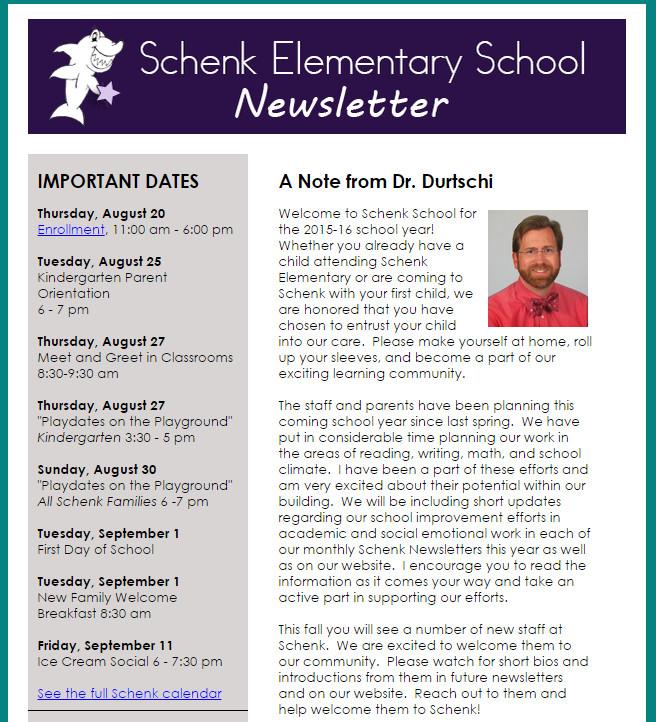 Elementary School Newsletter Template Wel E to the Schenk Elementary School Site