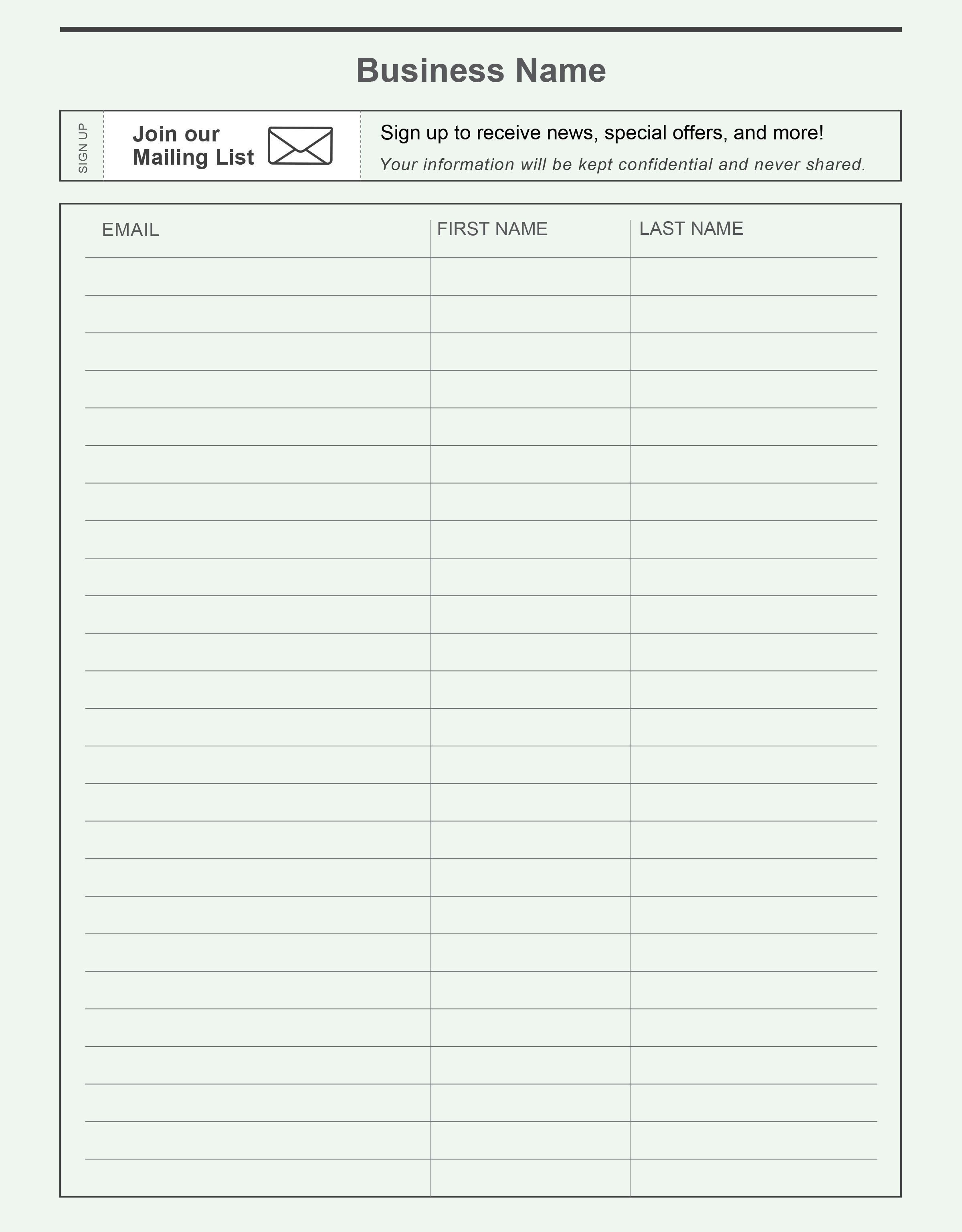 Email Signup Sheet Template Pin by Constant Contact On Grow Your Email List