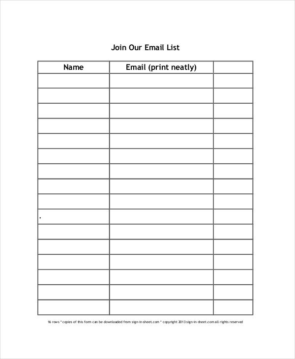 Sign Up Sheet 16 Free PDF Word Documents Download