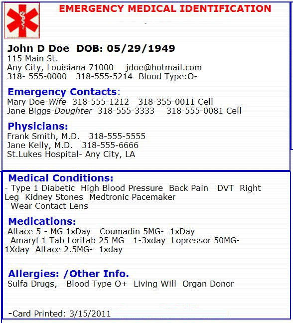 Emergency medical card Emergency Preperation