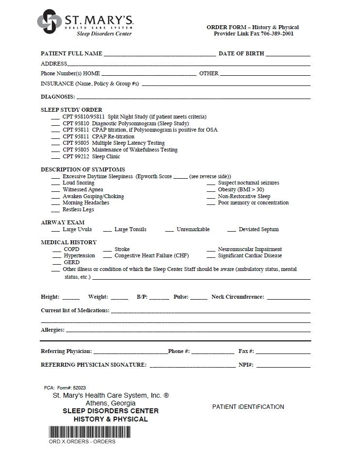 Emergency Room Discharge Papers Template Referral forms St Mary S Hospital and Health Care System