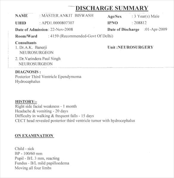 Emergency Room Discharge Papers Template Sample Discharge Summary 13 Documents In Word Pdf