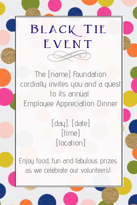 Employee Appreciation Day Flyer Template Copy Of Black Tie formal event Dinner Employee