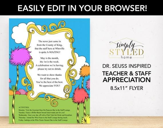 Employee Appreciation Day Flyer Template Editable Dr Seuss Inspired Flyer Teacher and Staff