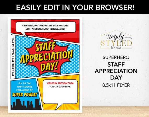 Employee Appreciation Day Flyer Template Editable Staff Appreciation Day Superhero Flyer Superhero