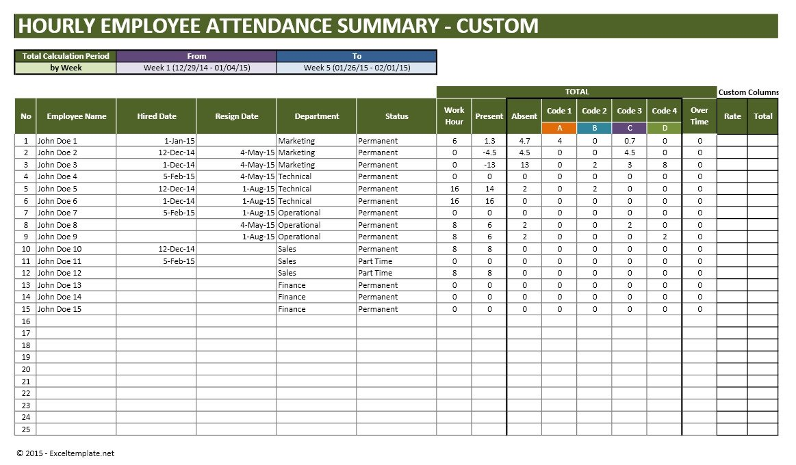 Employee attendance Tracker Excel Template Employee Vacation Planner