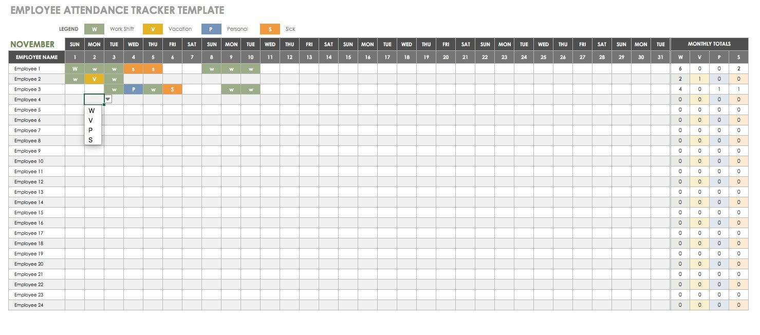 Employee attendance Tracker Excel Template Free Human Resources Templates In Excel