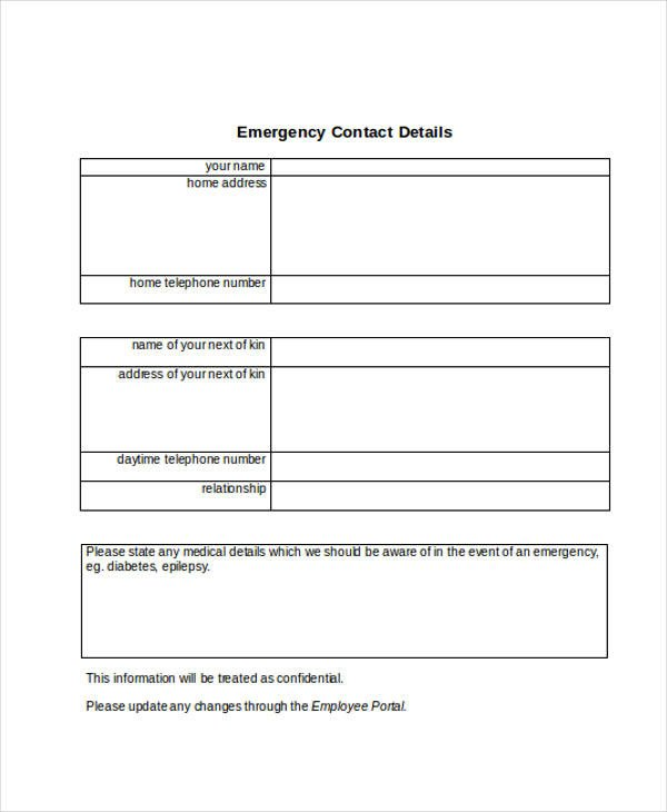 Employee Emergency Contact form Template 34 Emergency Contact forms