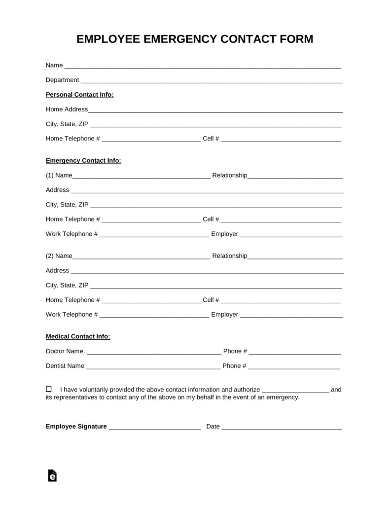 Free Employee Emergency Contact Form PDF Word