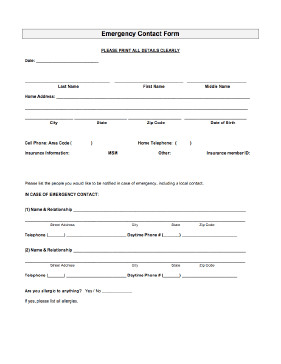 Employee Emergency Contact forms Emergency Contact form